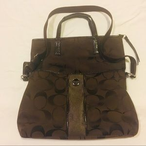 Coach chocolate brown jacquard fold over tote